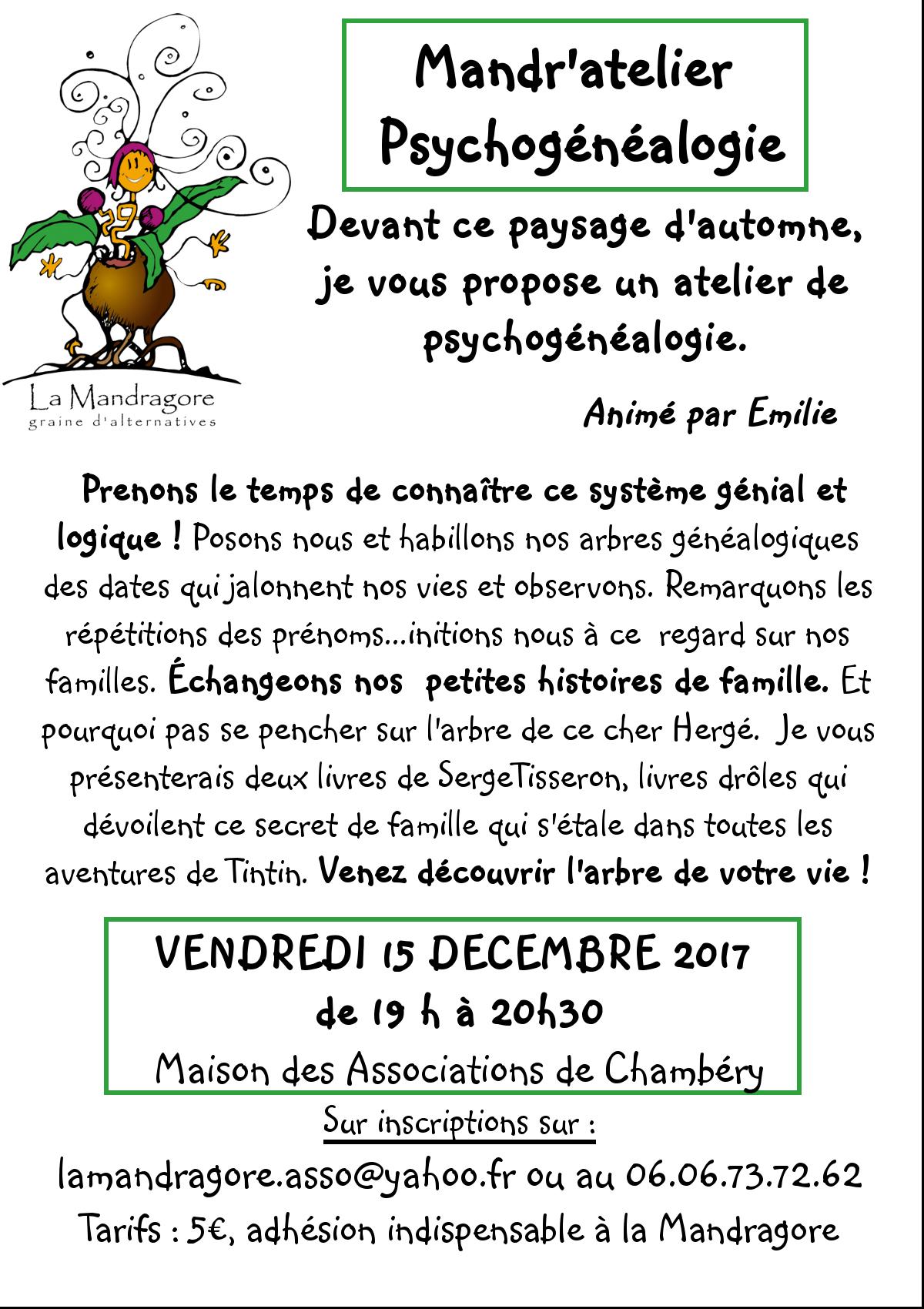 Mandr'atelier - Psychogénéalogie 15 12 2017